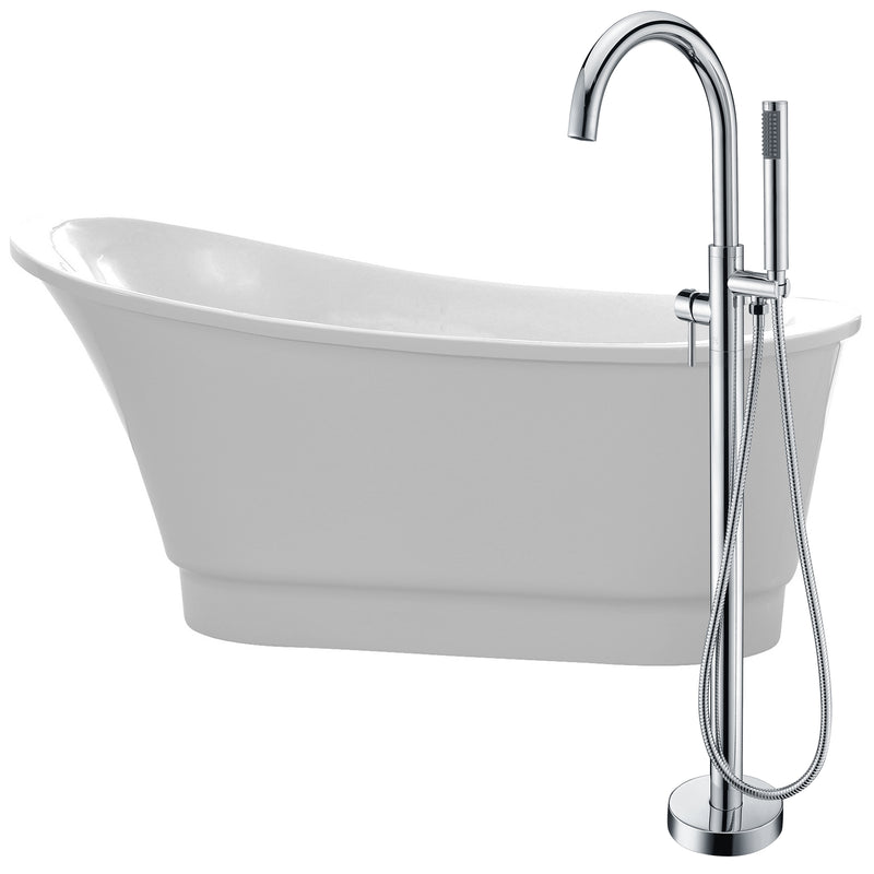 "Anzzi Prima 67"" Acrylic Flatbottom Non-Whirlpool Bathtub in White with Kros Faucet in Polished Chrome"