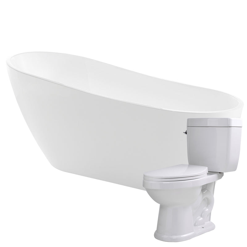 "Anzzi Trend 67"" Acrylic Flatbottom Non-Whirlpool Bathtub with Kame 2-piece 1.28 GPF Single Flush Toilet"