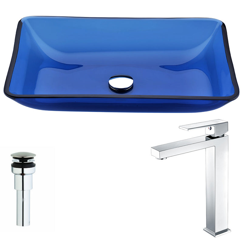 Anzzi Harmony Series Deco-Glass Vessel Sink in Cloud Blue with Enti Faucet in Polished Chrome