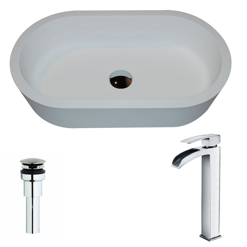 Anzzi Vaine Series 1-Piece Man Made Stone Vessel Sink in Matte White with Key Faucet in Polished Chrome