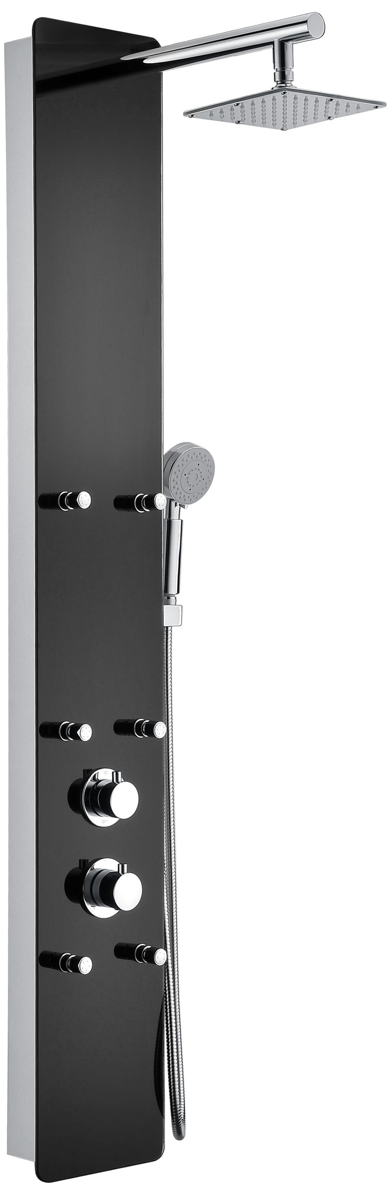 "Anzzi Melody 59"" 6-Jetted Shower Panel with Heavy Rain Shower and Spray Wand in Black Deco-Glass"
