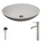 Anzzi Maine Series 1-Piece Man Made Stone Vessel Sink in Matte White with Fann Faucet in Brushed Nickel