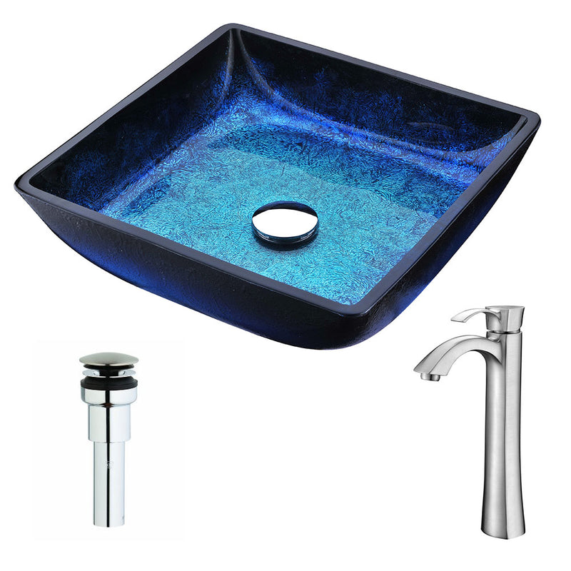 Anzzi Viace Series Deco-Glass Vessel Sink in Blazing Blue with Harmony Faucet in Brushed Nickel