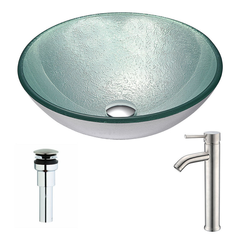 Anzzi Spirito Series Deco-Glass Vessel Sink in Churning Silver with Fann Faucet in Chrome