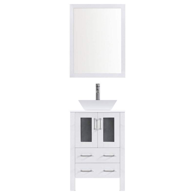 "LessCare 24"" Modern Vanity Sink Base with Mirror and Vessel Sink (White)"