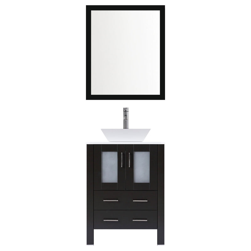 "LessCare 30"" Modern Vanity Sink Base with Mirror and Vessel Sink (Espresso)"