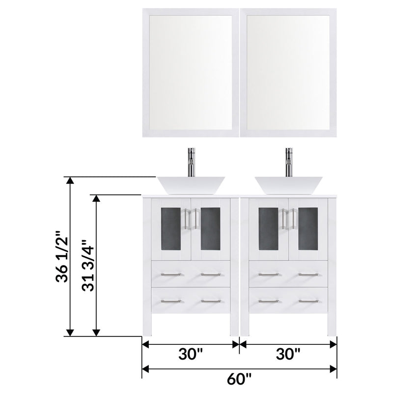 "LessCare 60"" Modern Bathroom Vanity Set with Mirror and Sink LV2-C11-60-W (White)"