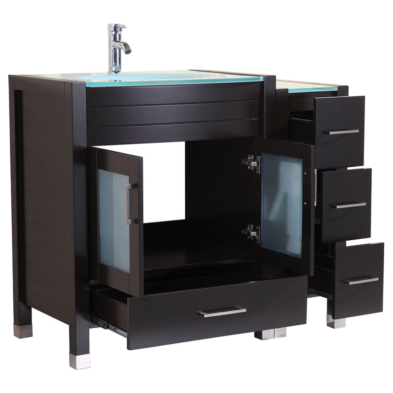 "LessCare 96"" Black Vanity Set - Two 30"" Sink Bases, Three 12"" Drawer Bases (LV3-C20-96-B)"