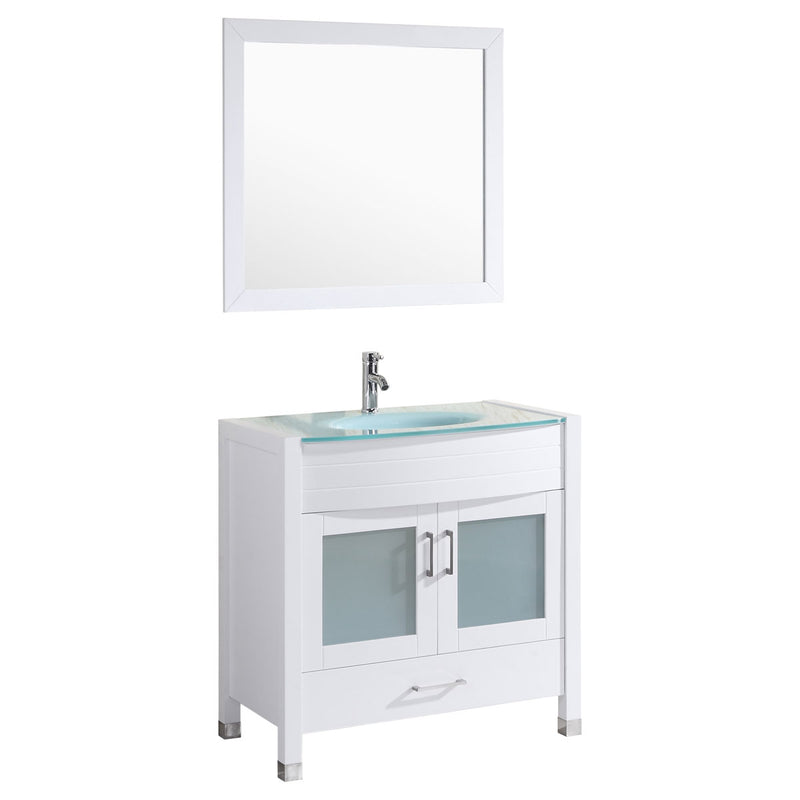 "LessCare Style 3 - 36""W White Vanity Sink Base Cabinet with Mirror (LV3-36W)"