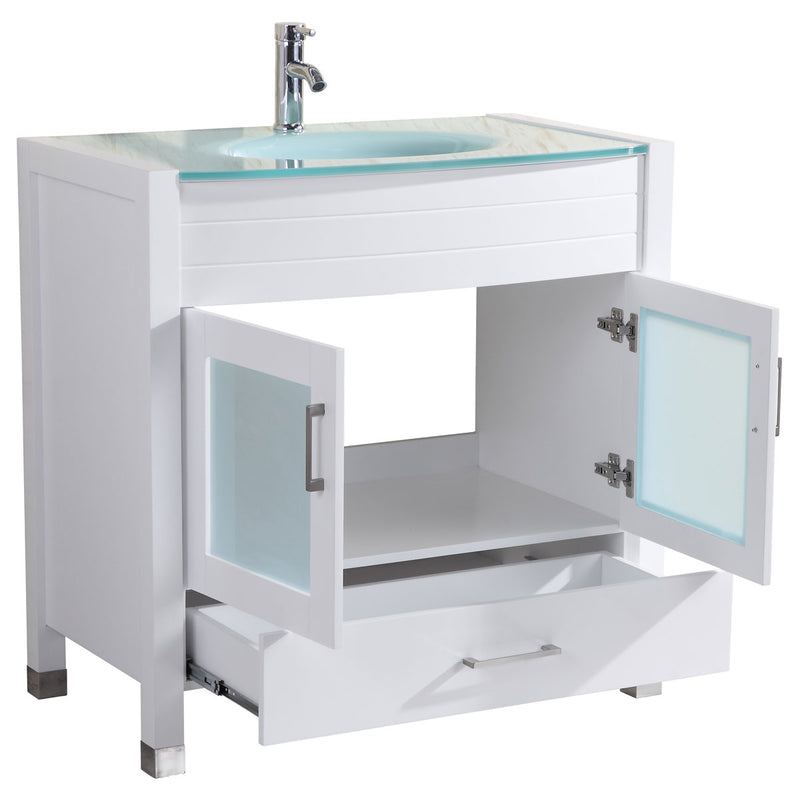 "LessCare Style 3 - 36"" White Vanity Sink Base Cabinet with Mirror (LV3-36W)"