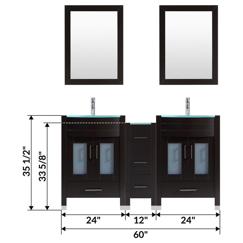 "LessCare 60"" Black Vanity Set - Two 24"" Sink Bases, One 12 Drawer Base (LV3-C13-60-B)"