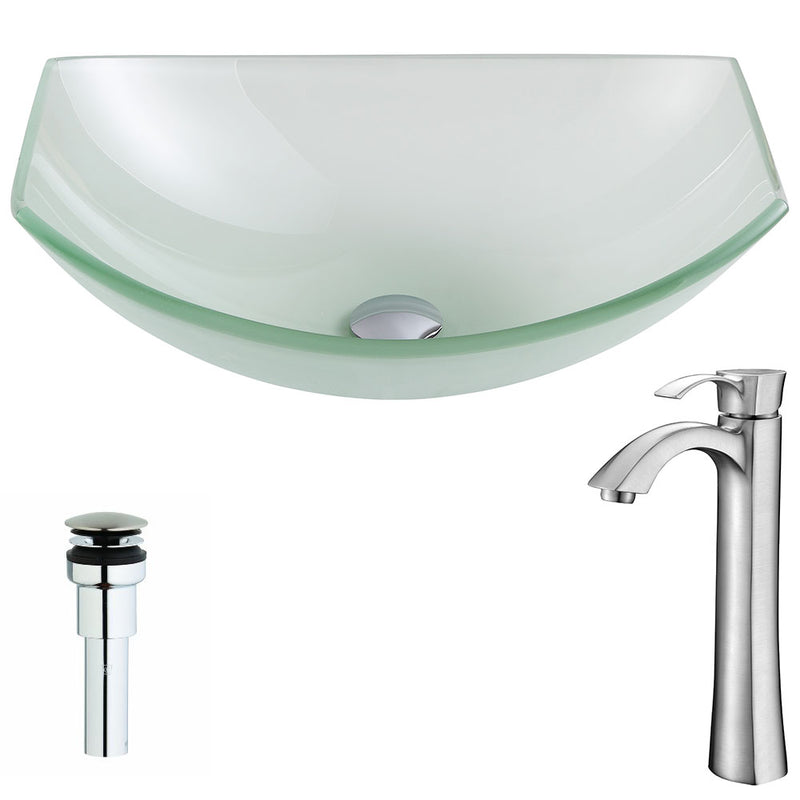Anzzi Pendant Series Deco-Glass Vessel Sink in Lustrous Frosted with Harmony Faucet in Brushed Nickel