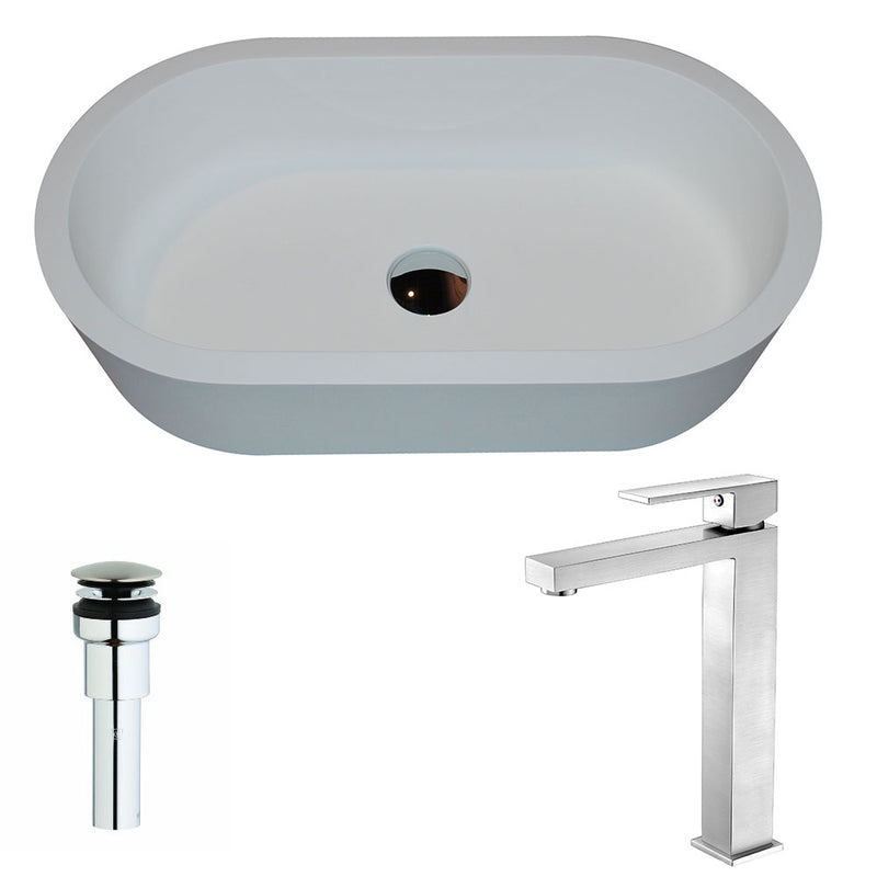 Anzzi Vaine Series 1-Piece Man Made Stone Vessel Sink in Matte White with Enti Faucet in Brushed Nickel