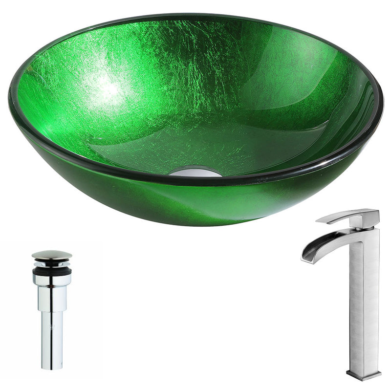 Anzzi Melody Series Deco-Glass Vessel Sink in Lustrous Green with Key Faucet in Brushed Nickel