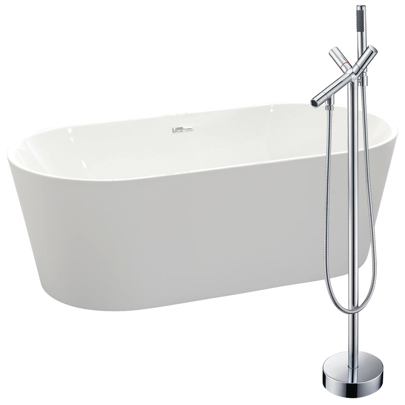 "Anzzi Chand 67"" Acrylic Flatbottom Non-Whirlpool Bathtub in White with Havasu Faucet in Polished Chrome"