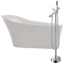 "Anzzi Maple 67"" Acrylic Flatbottom Non-Whirlpool Bathtub in White with Havasu Faucet in Polished Chrome"