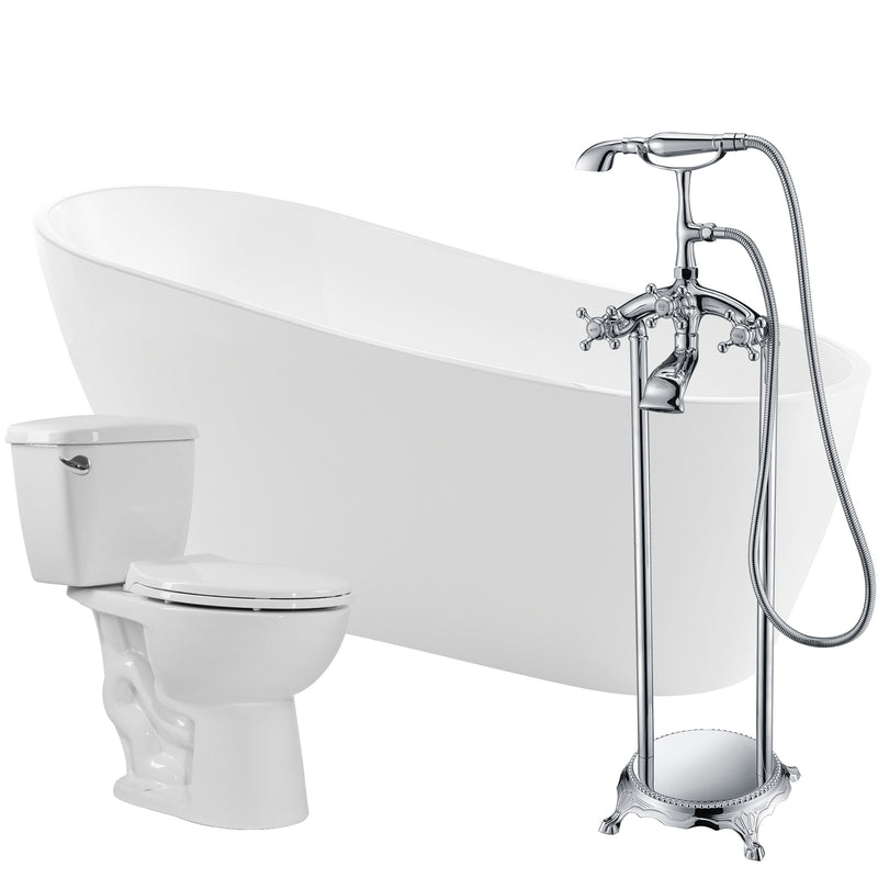 "Anzzi Trend 67"" Acrylic Soaking Bathtub with Tugela Faucet and Cavalier 1.28 GPF Toilet"