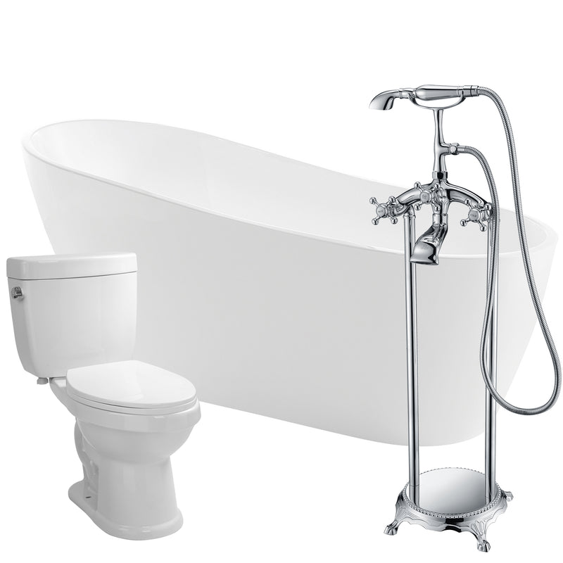 "Anzzi Trend 67"" Acrylic Flatbottom Non-Whirlpool Bathtub with Tugela Faucet and Talos 1.6 GPF Toilet"