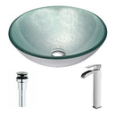 Anzzi Spirito Series Deco-Glass Vessel Sink in Churning Silver with Key Faucet in Brushed Nickel