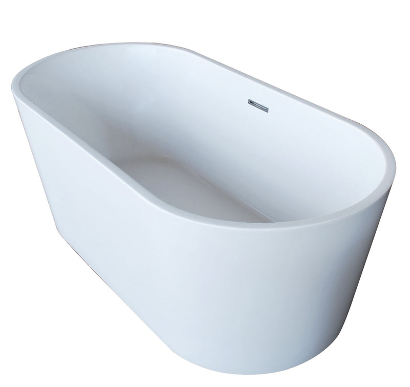 Anzzi Dover 5.6' Acrylic Center Drain Freestanding Bathtub in Glossy White