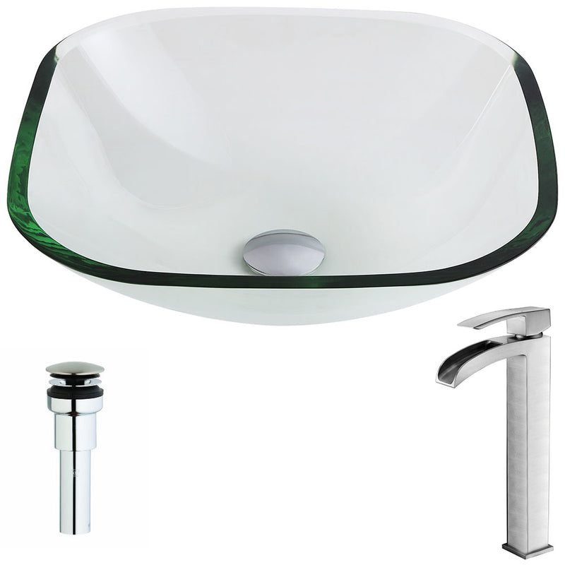 Anzzi Cadenza Series Deco-Glass Vessel Sink in Lustrous Clear with Key Faucet in Brushed Nickel