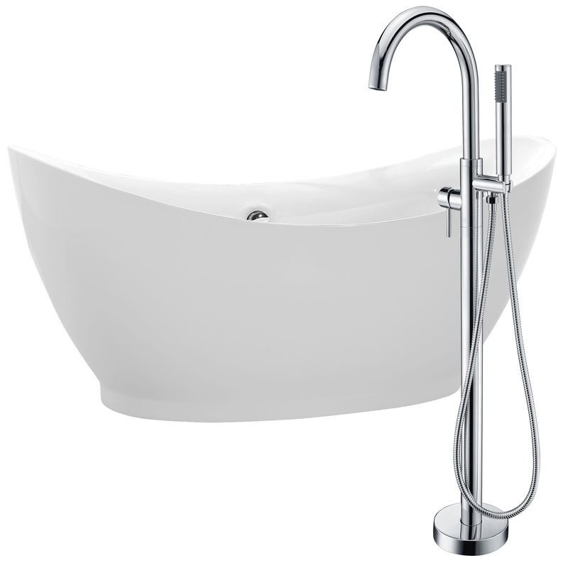 "Anzzi Reginald 68"" Acrylic Soaking Bathtub in White with Kros Faucet in Polished Chrome"