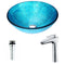 Anzzi Accent Series Deco-Glass Vessel Sink in Blue Ice with Crown Faucet in Chrome