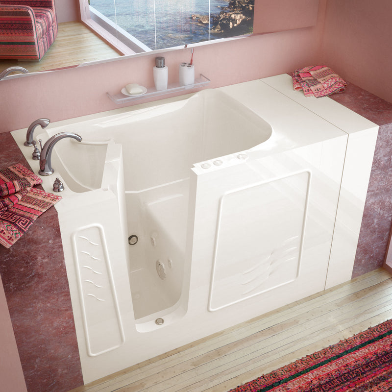"MediTub Walk-In 30"" x 53"" Left Drain Biscuit Whirlpool Jetted Walk-In Bathtub"