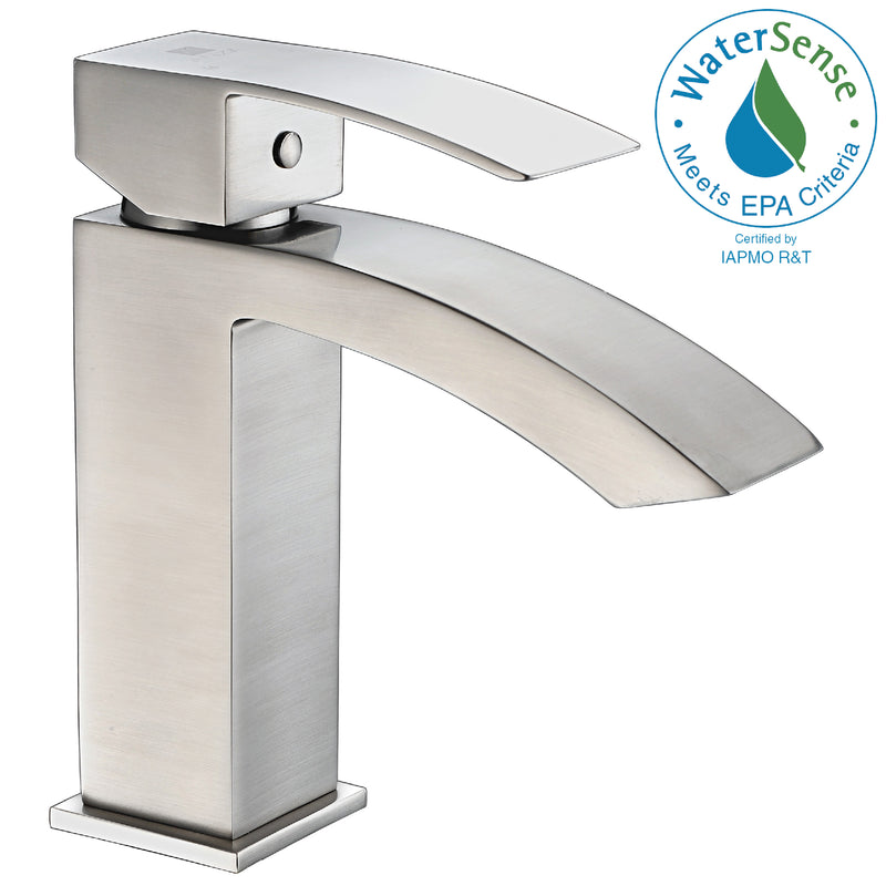 Anzzi Revere Series Single Hole Single-Handle Low-Arc Bathroom Faucet in Brushed Nickel
