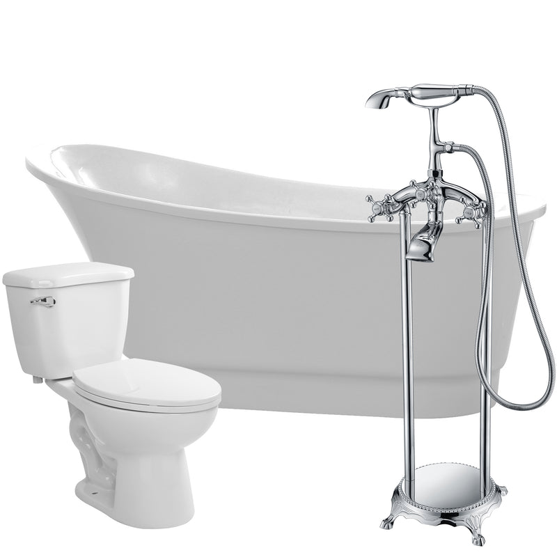 "Anzzi Prima 67"" Acrylic Flatbottom Non-Whirlpool Bathtub with Tugela Faucet and Kame 1.28 GPF Toilet"