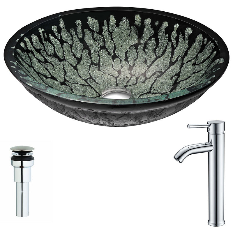 Anzzi Bravo Series Deco-Glass Vessel Sink in Lustrous Black with Fann Faucet in Polished Chrome