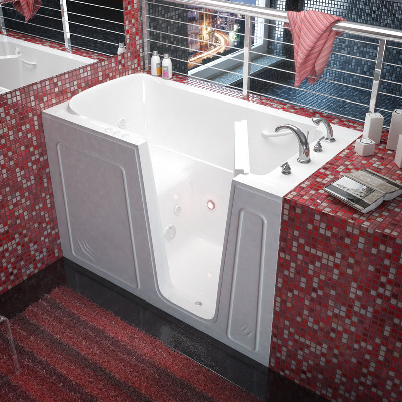 "MediTub Walk-In 32"" x 60"" Right Drain White Whirlpool Jetted Walk-In Bathtub"