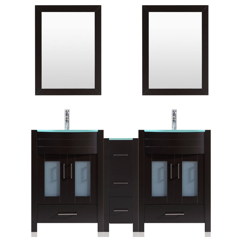 LessCare 60 Black Vanity Set - Two 24 Sink Bases, One 12 Drawer Base (LV3-C13-60-B)
