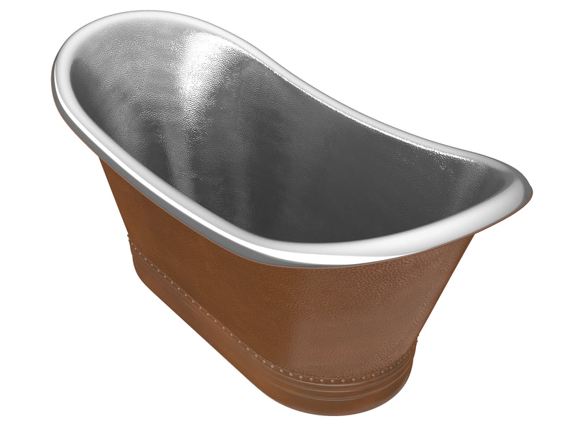 "Anzzi Bali 67"" Handmade Copper Double Slipper Flatbottom Non-Whirlpool Bathtub in Hammered Antique Copper"