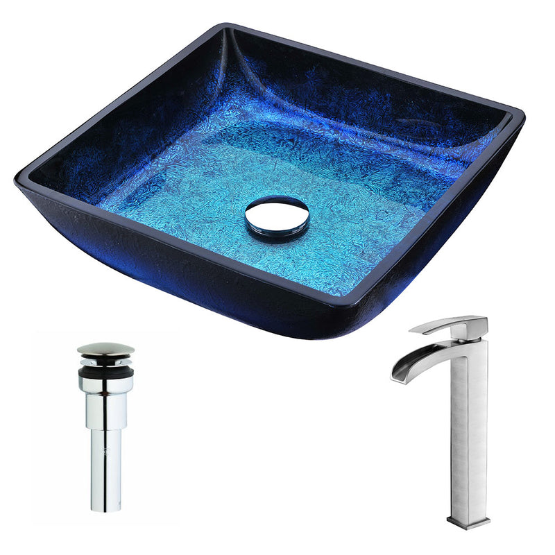 Anzzi Viace Series Deco-Glass Vessel Sink in Blazing Blue with Key Faucet in Brushed Nickel