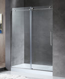 "Anzzi Madam Series 60"" by 76"" Frameless Sliding Shower Door in Brushed Nickel with Handle"