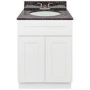 "White Bathroom Vanity 24"", Tan Brown Granite Top, Faucet LB3B TB254-24AW-3B"