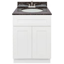 "White Bathroom Vanity 24"", Tan Brown Granite Top, Faucet LB5B TB254-24AW-5B"