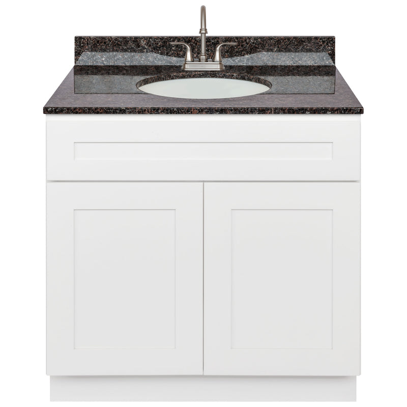 "White Bathroom Vanity 36"", Tan Brown Granite Top, Faucet LB6B TB374-36AW-6B"