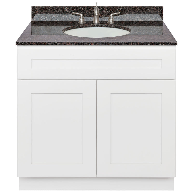 "White Bathroom Vanity 36"", Tan Brown Granite Top, Faucet LB4B TB378-36AW-4B"