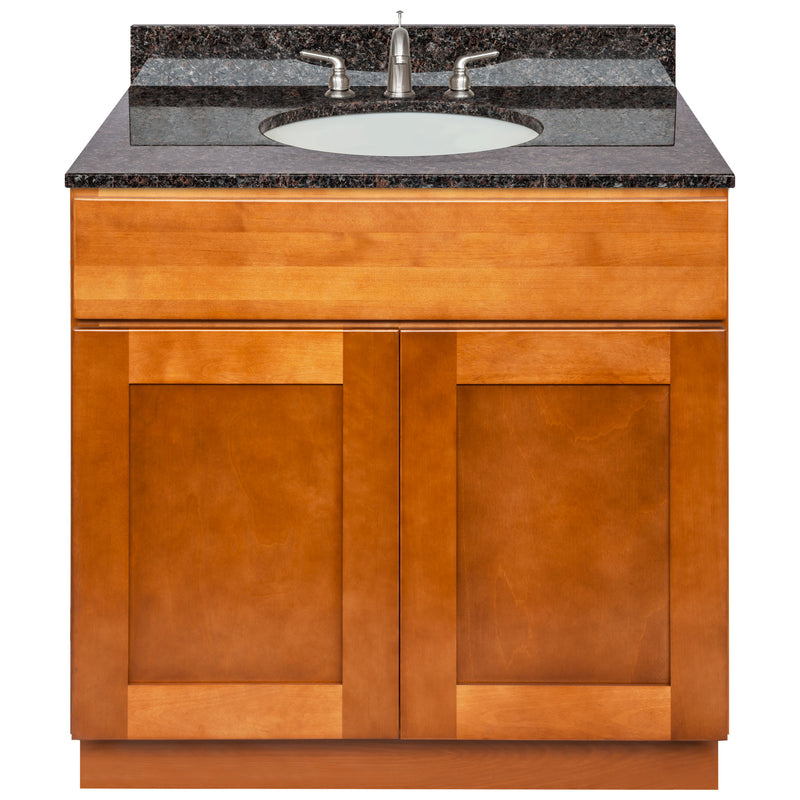 "Brown Bathroom Vanity 36"", Tan Brown Granite Top, Faucet LB4B TB378-36NP-4B"