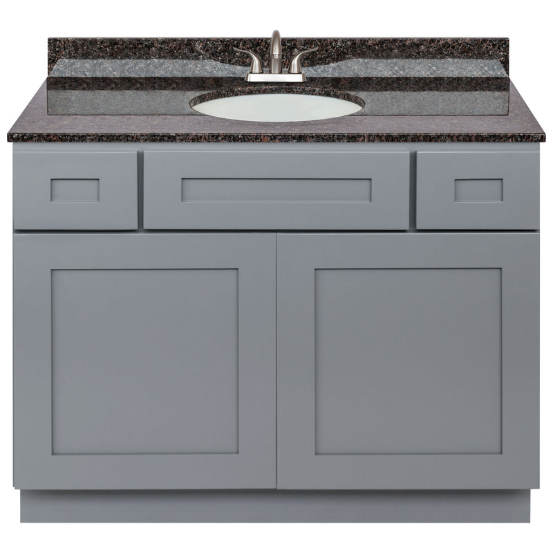 "Cherry Bathroom Vanity 42"", Tan Brown Granite Top, Faucet LB5B TB434-42CG-5B"