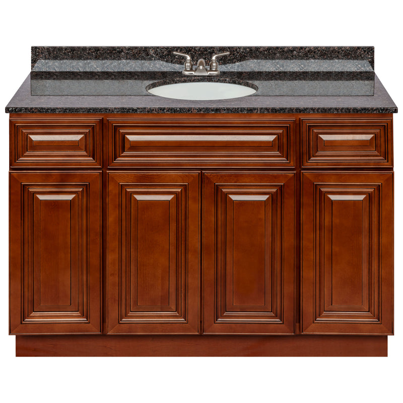 "Brown Bathroom Vanity 48"", Tan Brown Granite Top, Faucet LB3B TB494-48GN-3B"