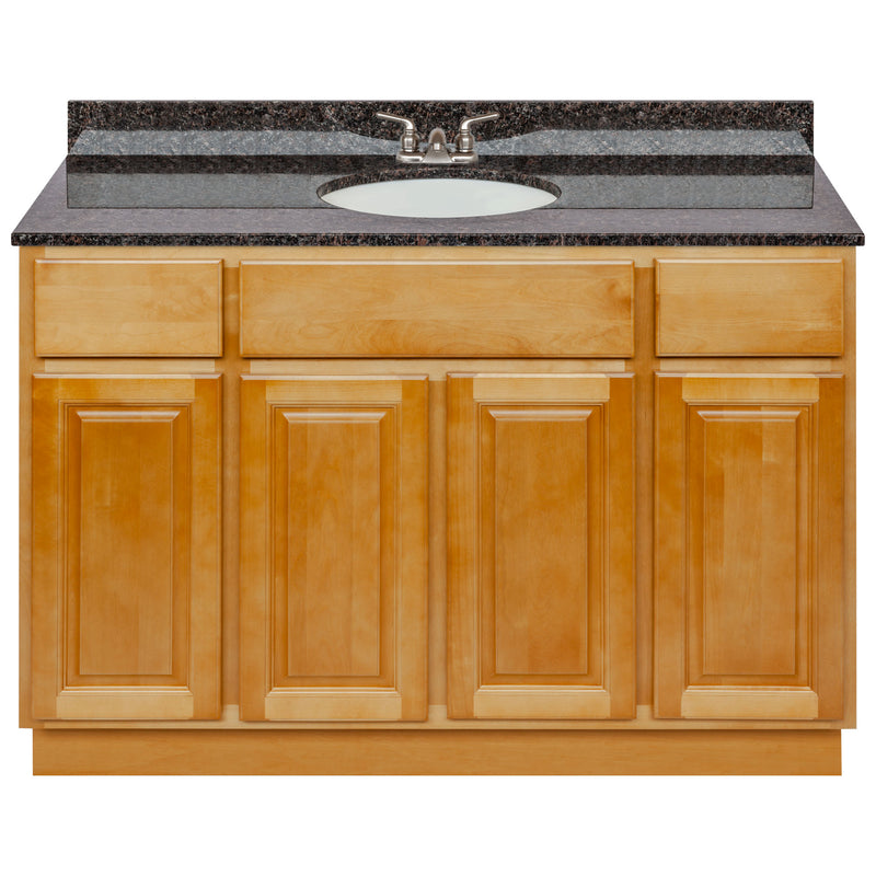 "Brown Bathroom Vanity 48"", Tan Brown Granite Top, Faucet LB3B TB494-48RC-3B"