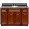 "Brown Bathroom Vanity 48"", Tan Brown Granite Top, Faucet LB4B TB498-48GN-4B"