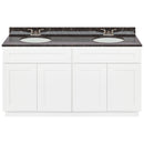 "White Double Bathroom Vanity 60"", Tan Brown Granite Top, Faucet LB3B TB614-60AW-3B"