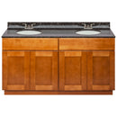 "Brown Double Bathroom Vanity 60"", Tan Brown Granite Top, Faucet LB3B TB614-60NP-3B"