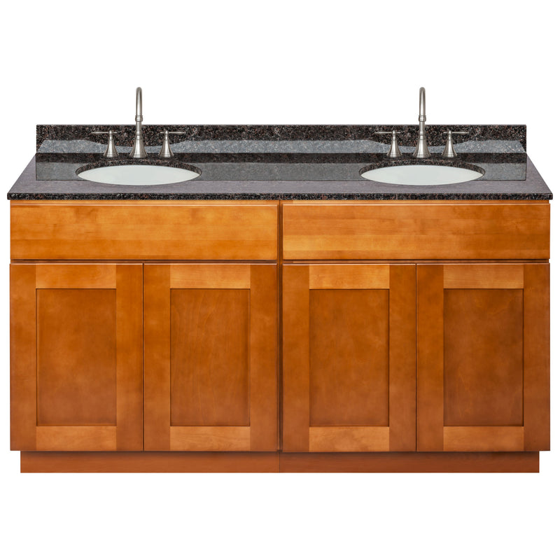 "Brown Double Bathroom Vanity 60"", Tan Brown Granite Top, Faucet LB7B TB618-60NP-7B"