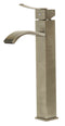 ALFI Tall Brushed Nickel Tall Square Body Curved Spout Single Lever Bathroom Faucet AB1158-BN