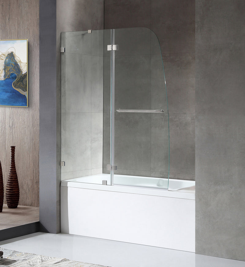 "Anzzi Herald Series 48"" by 58"" Frameless Hinged tub door in Brushed Nickel"